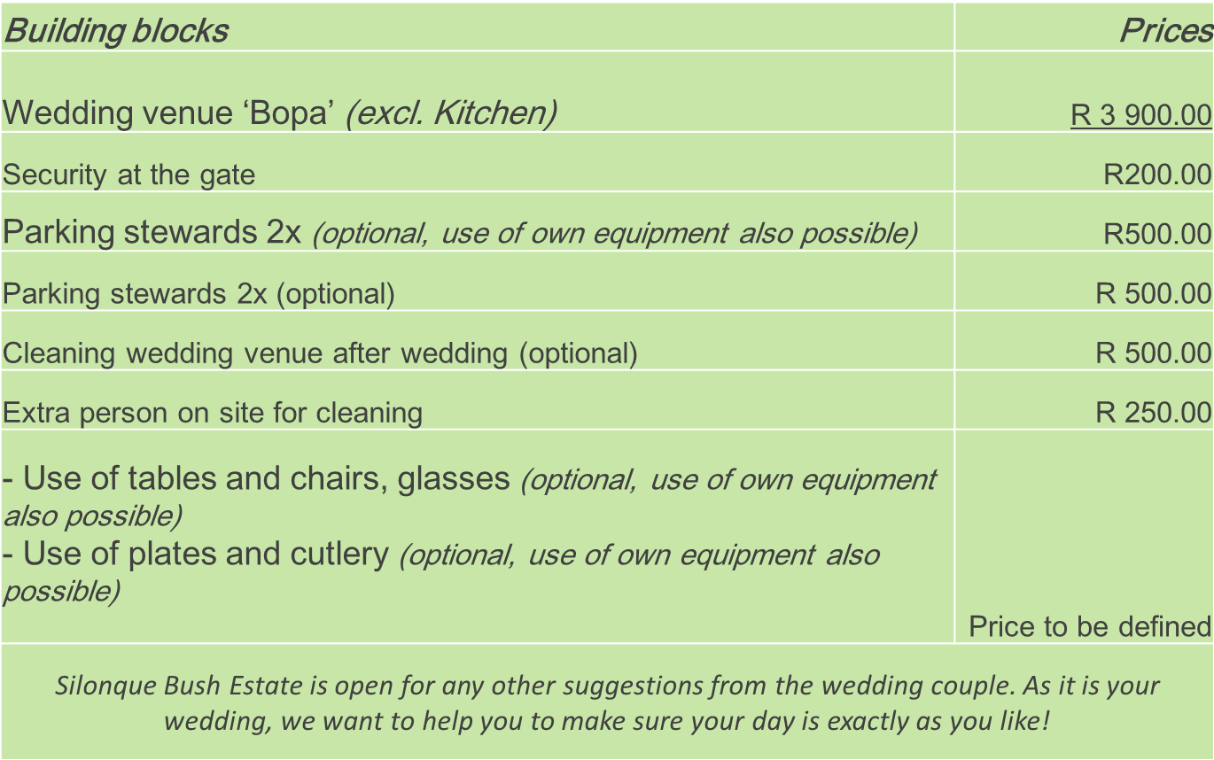 Wedding pricelist Package 1